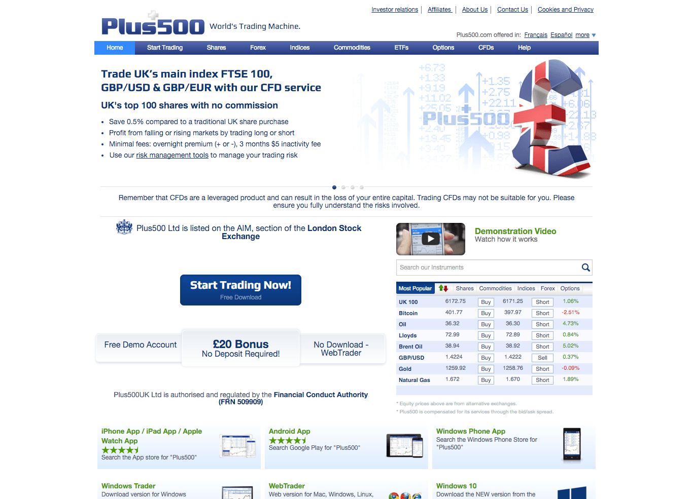 Plus500 online trading review